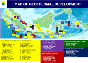 Map of Geothermal Development 2012